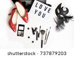 flat lay of party preparation... | Shutterstock . vector #737879203