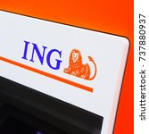 Small photo of ROTTERDAM, NETHERLANDS - September 23, 2017: ING cash dispensing machine. ING is a Dutch multinational banking and financial services corporation headquartered in Amsterdam.