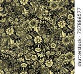doodle flowers seamless pattern.... | Shutterstock .eps vector #737886577