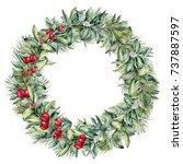 watercolor winter floral wreath ... | Shutterstock . vector #737887597