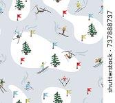 seamless pattern. winter skiing ...   Shutterstock .eps vector #737888737