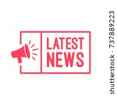 latest news megaphone label | Shutterstock .eps vector #737889223