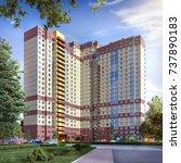 modern residential complex  3d... | Shutterstock . vector #737890183