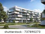modern residential  3d render ... | Shutterstock . vector #737890273