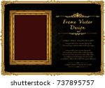 royal frame on black pattern... | Shutterstock .eps vector #737895757