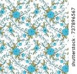 seamless vector floral pattern...   Shutterstock .eps vector #737896567