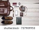 still life with men's casual... | Shutterstock . vector #737909953