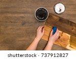 diy dark wood wall with wax... | Shutterstock . vector #737912827