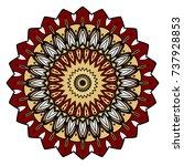 red  gold mandala round... | Shutterstock .eps vector #737928853