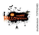 banner happy halloween on... | Shutterstock .eps vector #737932483