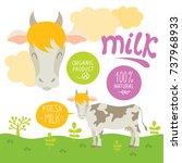 cow cartoon vector illustration ... | Shutterstock .eps vector #737968933