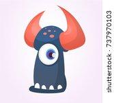 cartoon black monster with... | Shutterstock .eps vector #737970103