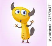cute cartoon monster. vector... | Shutterstock .eps vector #737970697