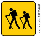 hiking sign yellow. vector. | Shutterstock .eps vector #737984407