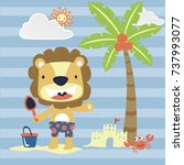 lion in the beach  vector... | Shutterstock .eps vector #737993077