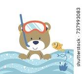 bear the diver  vector cartoon... | Shutterstock .eps vector #737993083