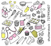 vector set drawings of baking... | Shutterstock .eps vector #737993407