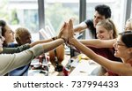 teamwork successful high five... | Shutterstock . vector #737994433