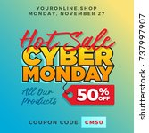 cyber monday super sale. up to... | Shutterstock .eps vector #737997907