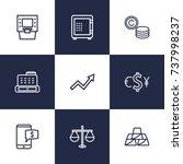 set of 9 finance outline icons... | Shutterstock .eps vector #737998237