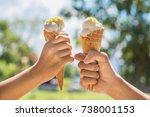 two hands girl holding ice... | Shutterstock . vector #738001153