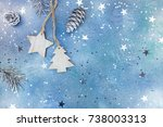 wooden christmas decorations... | Shutterstock . vector #738003313