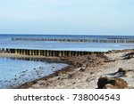 shot of wooden groins on the... | Shutterstock . vector #738004543