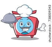 chef scale character cartoon... | Shutterstock .eps vector #738009343