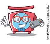 gamer scale character cartoon... | Shutterstock .eps vector #738009367