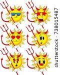 cartoon devil sun with... | Shutterstock .eps vector #738015487