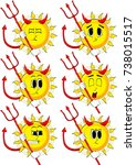 cartoon devil sun with... | Shutterstock .eps vector #738015517