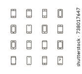 smartphone icon set. collection ... | Shutterstock .eps vector #738017647