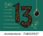 number thirteen with yellow... | Shutterstock .eps vector #738025927