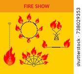 flat design elements of fire... | Shutterstock .eps vector #738029353
