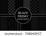 cute set of black friday sale... | Shutterstock .eps vector #738043927