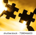 two hands trying to connect...   Shutterstock . vector #738046603