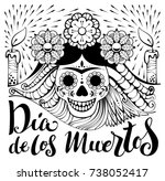 mexican zentangle dia de los... | Shutterstock .eps vector #738052417