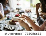 Small photo of Friends Gathering Together on Tea Party Eating Cakes Enjoyment happiness