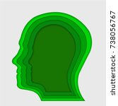 human head in green paper art... | Shutterstock .eps vector #738056767
