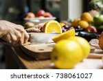 closeup of hand with knife... | Shutterstock . vector #738061027