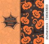 happy halloween greeting card... | Shutterstock .eps vector #738065803