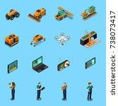 agricultural robots isometric... | Shutterstock .eps vector #738073417
