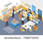 post office interior with... | Shutterstock .eps vector #738073453
