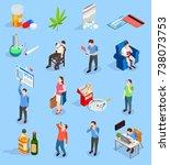 bad habits of people isometric... | Shutterstock .eps vector #738073753