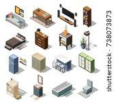 isometric interior icons... | Shutterstock .eps vector #738073873