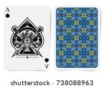 ace of spades face with thistle ... | Shutterstock .eps vector #738088963