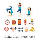 girl engaged in sports and yoga ... | Shutterstock . vector #738115837