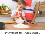 mother and her cute daughter... | Shutterstock . vector #738130063