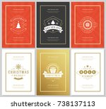 christmas sale flyers or... | Shutterstock .eps vector #738137113