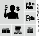 person holding cash vector icon  | Shutterstock .eps vector #738138313